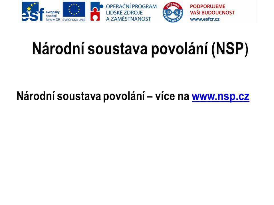 Národní soustava povolání (NSP ) Národní soustava povolání – více na www.nsp.czwww.nsp.cz