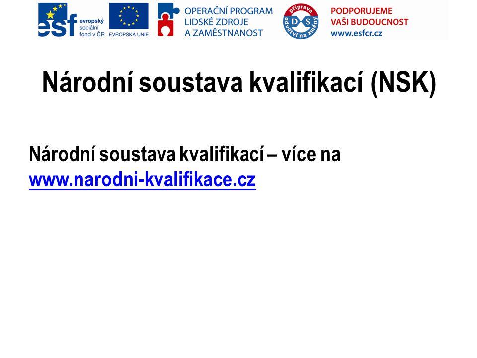 Národní soustava kvalifikací (NSK) Národní soustava kvalifikací – více na www.narodni-kvalifikace.cz www.narodni-kvalifikace.cz