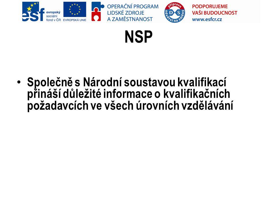 NSP Společně s Národní soustavou kvalifikací přináší důležité informace o kvalifikačních požadavcích ve všech úrovních vzdělávání