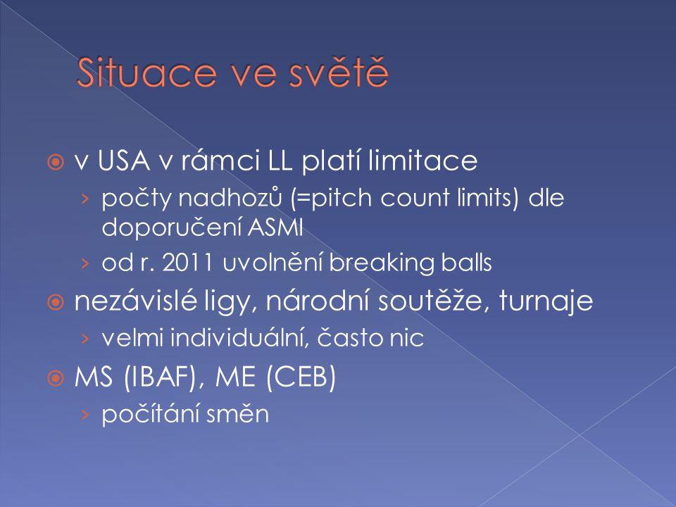  v USA v rámci LL platí limitace › počty nadhozů (=pitch count limits) dle doporučení ASMI › od r. 2011 uvolnění breaking balls  nezávislé ligy, nár
