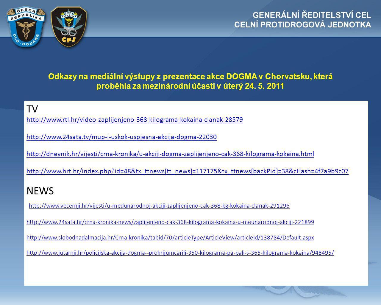 Odkazy na mediální výstupy z prezentace akce DOGMA v Chorvatsku, která proběhla za mezinárodní účasti v úterý 24.