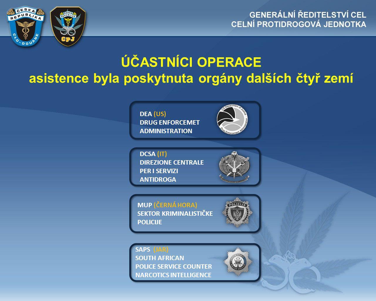 ÚČASTNÍCI OPERACE asistence byla poskytnuta orgány dalších čtyř zemí DEA (US) DRUG ENFORCEMET ADMINISTRATION DCSA (IT) DIREZIONE CENTRALE PER I SERVIZI ANTIDROGA MUP (ČERNÁ HORA) SEKTOR KRIMINALISTIČKE POLICIJE SAPS (JAR) SOUTH AFRICAN POLICE SERVICE COUNTER NARCOTICS INTELLIGENCE