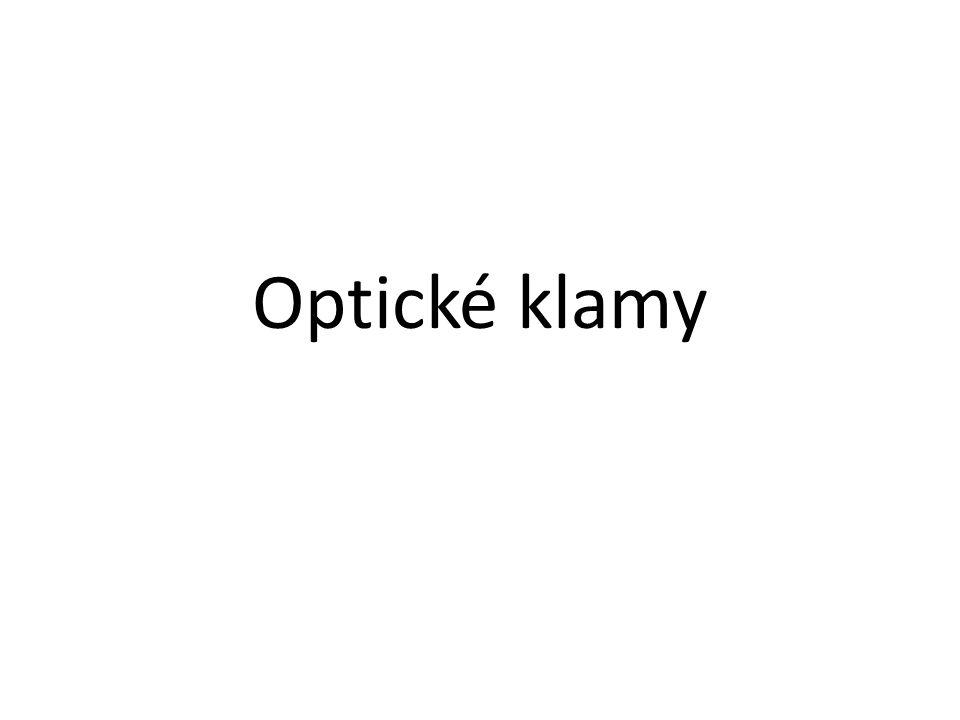 OPTICKÝ KLAM optický klam = optická iluze nesprávné nebo matoucí vnímání reality lidské oko snímá nějaký obrázek a mozek ho představuje jinak oproti skutečnému zobrazení -> člověk vidí na obrázku něco, co na něm vůbec není zobrazeno většina optických klamů je dána na matením mozku pomocí barvy a tvaru
