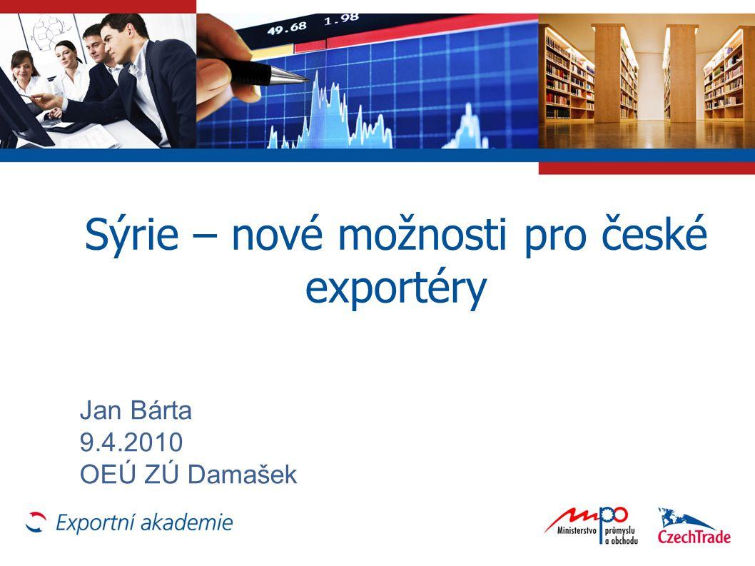 Sýrie – nové možnosti pro české exportéry Jan Bárta 9.4.2010 OEÚ ZÚ Damašek