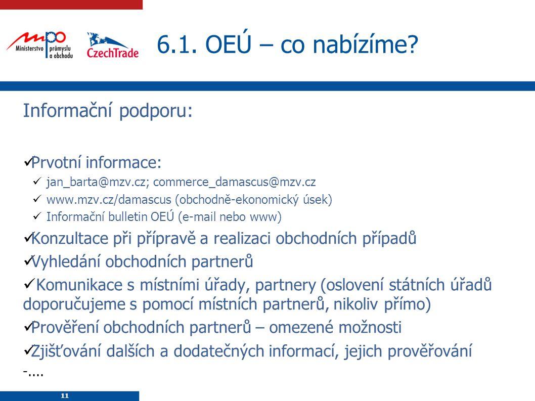 11 6.1. OEÚ – co nabízíme? 11 Informační podporu: Prvotní informace: jan_barta@mzv.cz; commerce_damascus@mzv.cz www.mzv.cz/damascus (obchodně-ekonomic