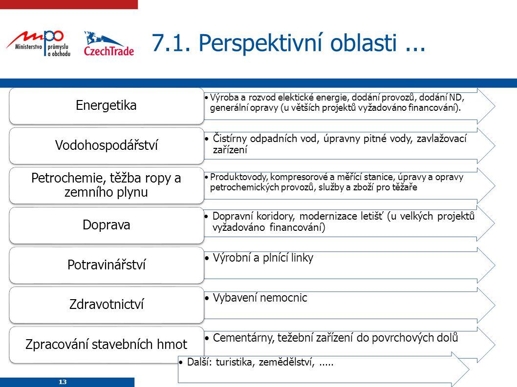 13 7.1. Perspektivní oblasti... 13 Výroba a rozvod elektické energie, dodání provozů, dodání ND, generální opravy (u větších projektů vyžadováno finan