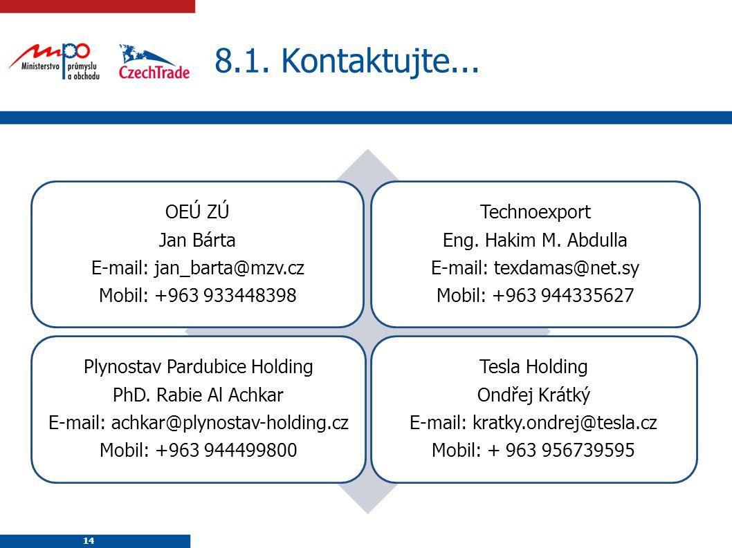 14 8.1. Kontaktujte... 14 OEÚ ZÚ Jan Bárta E-mail: jan_barta@mzv.cz Mobil: +963 933448398 Technoexport Eng. Hakim M. Abdulla E-mail: texdamas@net.sy M