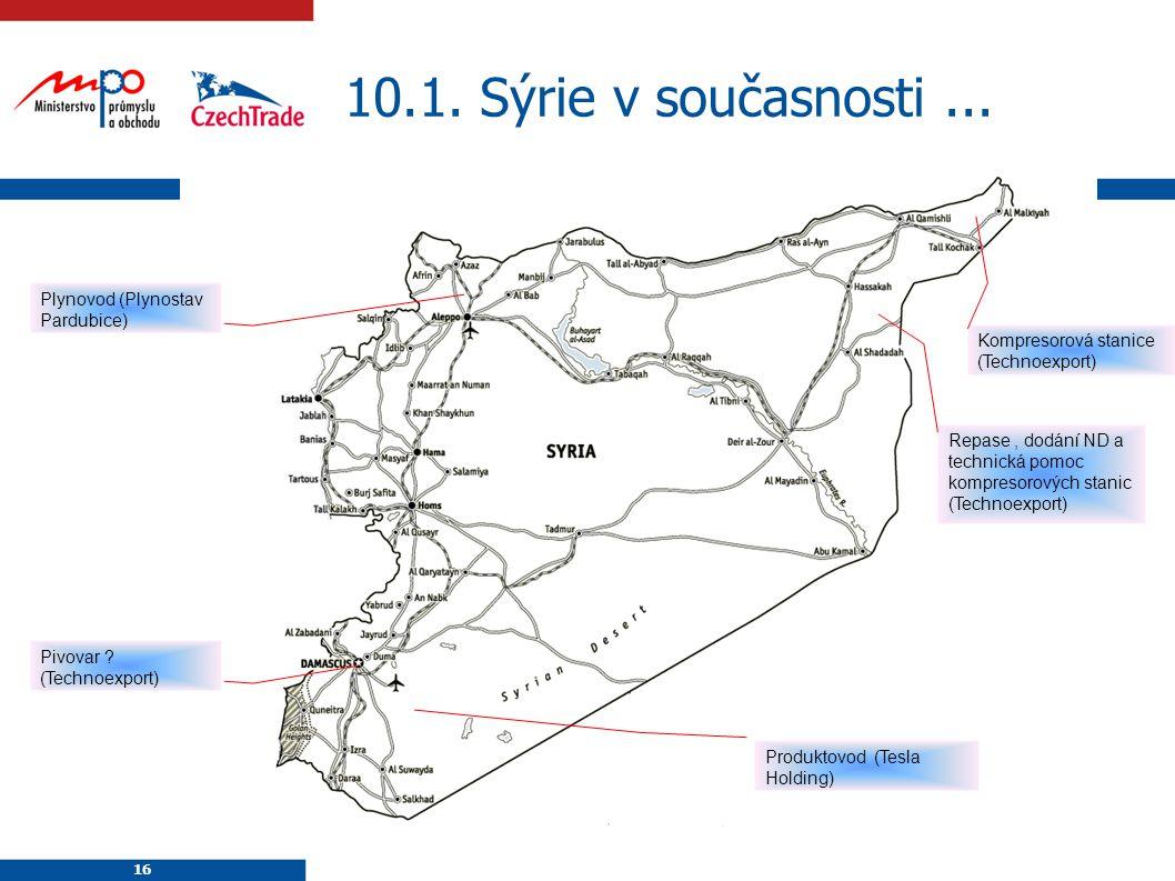 16 10.1. Sýrie v současnosti... 16 Plynovod (Plynostav Pardubice) Kompresorová stanice (Technoexport) Pivovar ? (Technoexport) Produktovod (Tesla Hold
