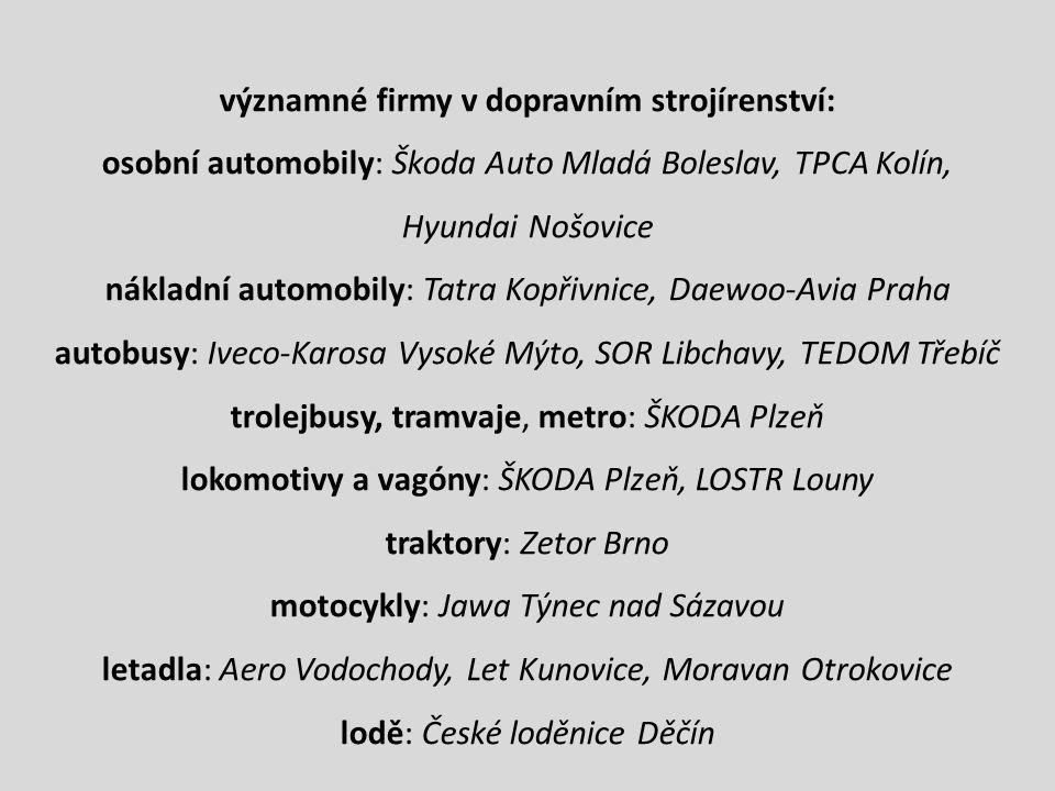 významné firmy v dopravním strojírenství: osobní automobily: Škoda Auto Mladá Boleslav, TPCA Kolín, Hyundai Nošovice nákladní automobily: Tatra Kopřiv