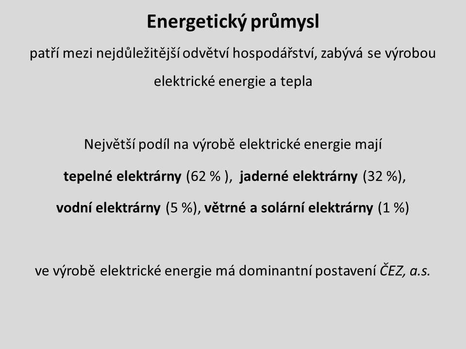 Energetický průmysl patří mezi nejdůležitější odvětví hospodářství, zabývá se výrobou elektrické energie a tepla Největší podíl na výrobě elektrické e