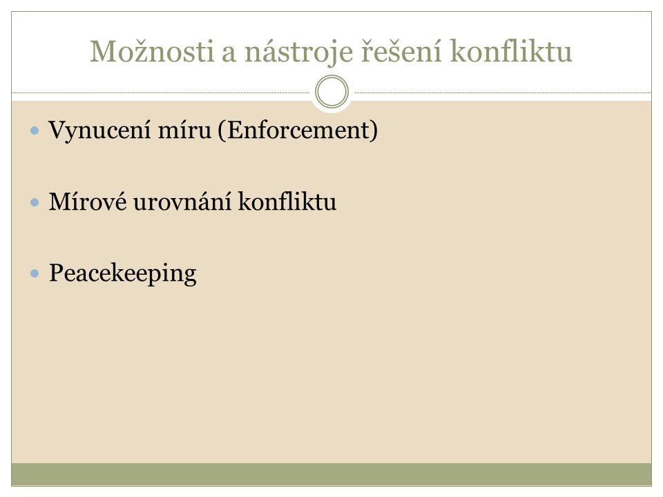 Vynucení Rozhodnutí se uskutečňují dle Kapitoly VII Charty Případ, kdy strana/y konfliktu neplní rezoluce RB Nejčastěji jsou využívány nevojenské nástroje, vojenské sporadicky Nevojenské nástroje:  Pozastavení členství nebo vyloučení  K pozastavení členství došlo v případě Srbska (vojenské střety s Chorvatskem a BaH)  Embarga  Během SV uvalena jen 2x, a to ekonomické embargo na Rhodésii v r.