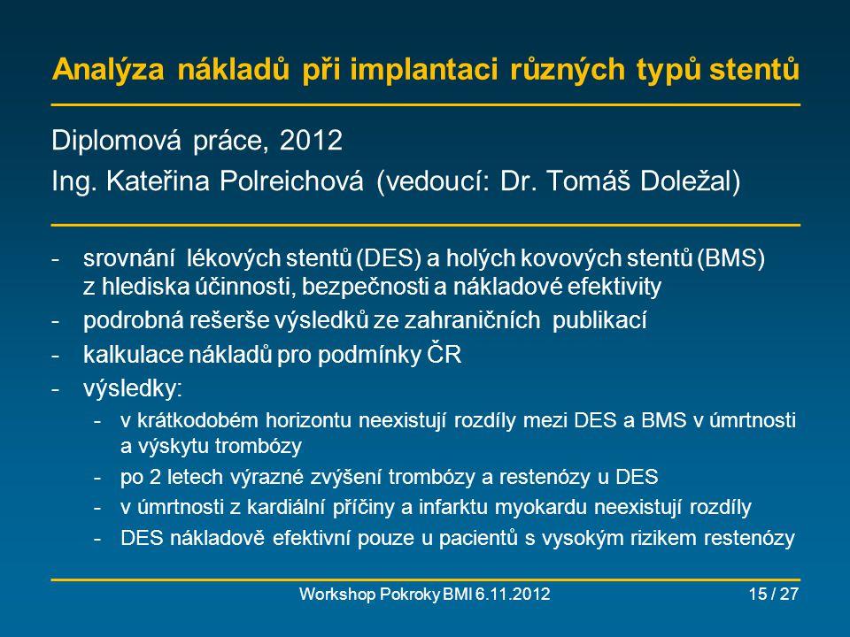 Racionální systém výběru lékařského přístroje (MRI) Workshop Pokroky BMI 6.11.201216 / 27 připravovaná dizertační práce Ing.