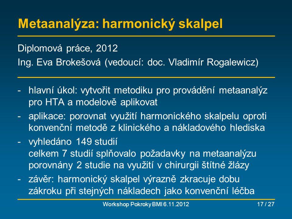 Efektivita vynakládaných prostředků na léčbu obezity Workshop Pokroky BMI 6.11.201218 / 27 Diplomová práce, 2011 Ing.