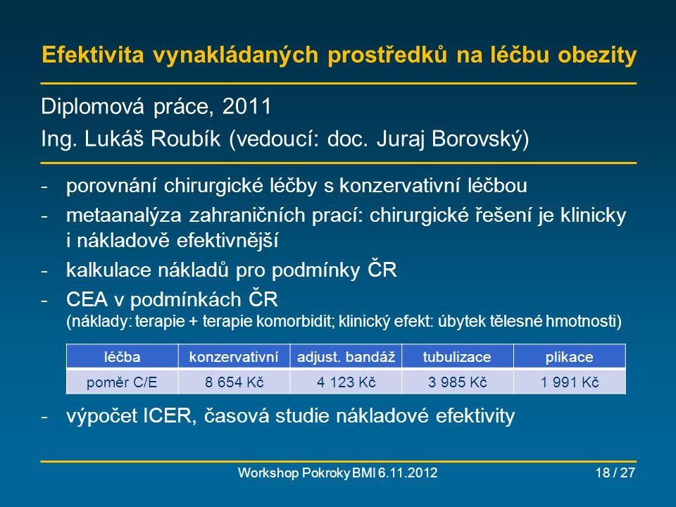Porovnání léčby diabetické neuropatie gabapentinem a pregabalinem – klinická a nákladová efektivita Workshop Pokroky BMI 6.11.201219 / 27 Diplomová práce, 2011 Ing.