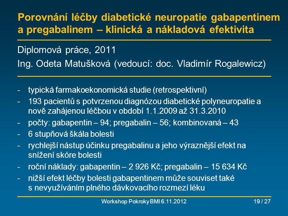 Screening tyreopatií žen po časných spontánních potratech – klinická a nákladová efektivita Workshop Pokroky BMI 6.11.201220 / 27 Diplomová práce, 2012 Ing.