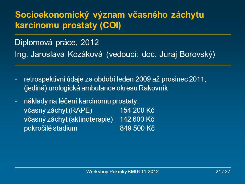 Modelování cíleného screeningu karcinomu prsu Workshop Pokroky BMI 6.11.201222 / 27 Diplomové práce, 2011 (V.Š.) a 2012 (K.K.) Ing.