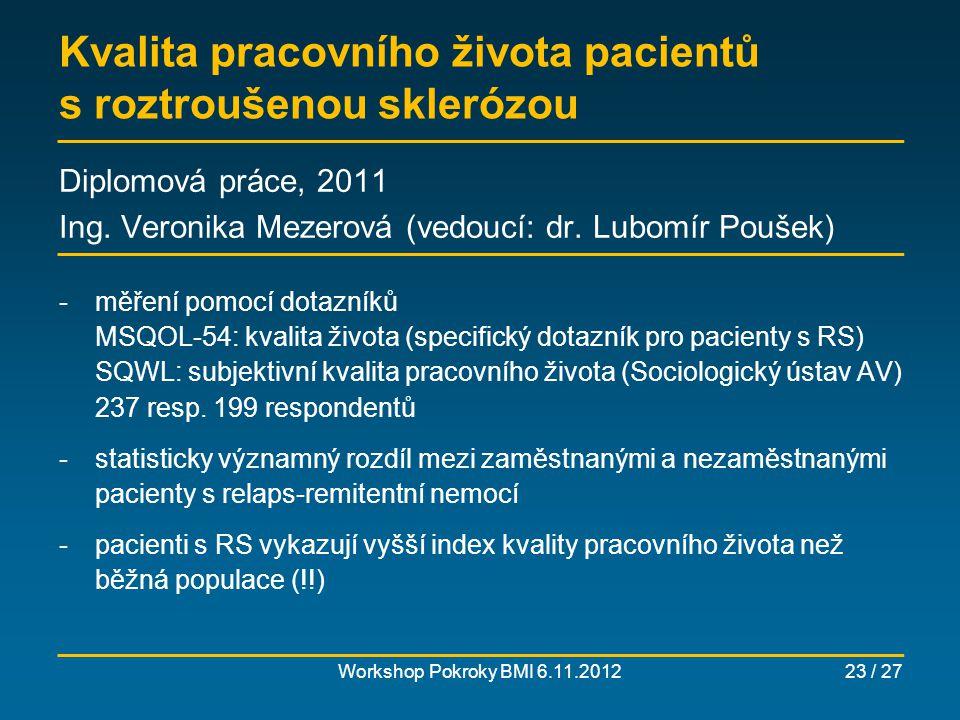 Pracovní produktivita pacientů s ankylozující spondylitidou Workshop Pokroky BMI 6.11.201224 / 27 Diplomová práce, 2012 Ing.