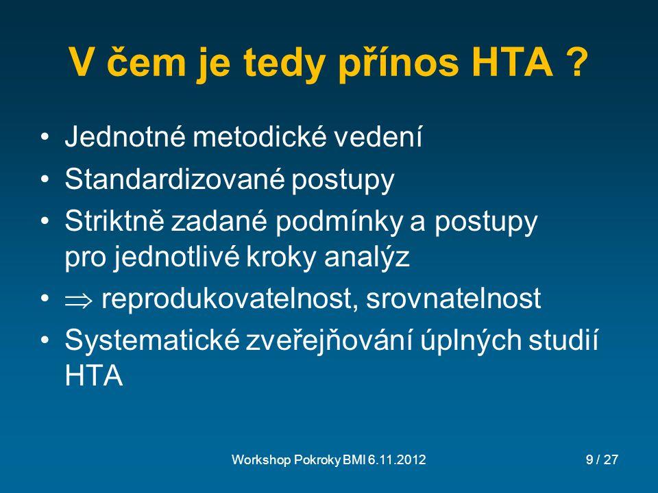 Workshop Pokroky BMI 6.11.201210 / 27 Co je obsahem HTA.