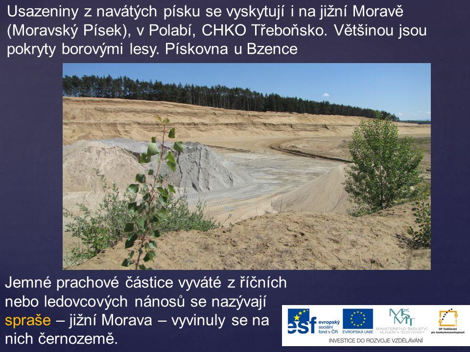Usazeniny z navátých písku se vyskytují i na jižní Moravě (Moravský Písek), v Polabí, CHKO Třeboňsko. Většinou jsou pokryty borovými lesy. Pískovna u