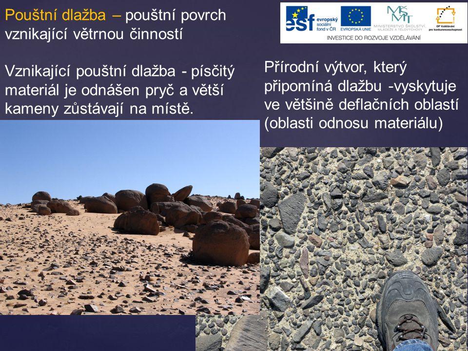 Pouštní dlažba – pouštní povrch vznikající větrnou činností Vznikající pouštní dlažba - písčitý materiál je odnášen pryč a větší kameny zůstávají na m
