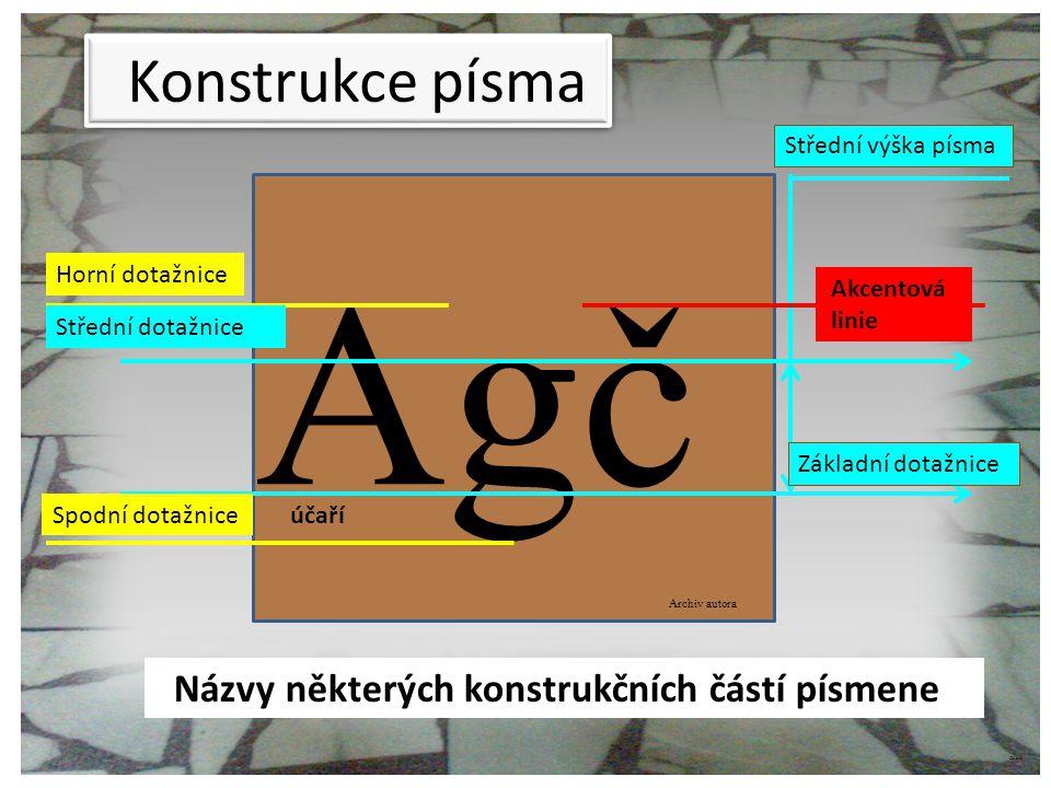 ©c.zuk Střední výška písma Agč Akcentová linie Horní dotažnice Střední dotažnice Spodní dotažnice Základní dotažnice účaří Konstrukce písma Názvy někt