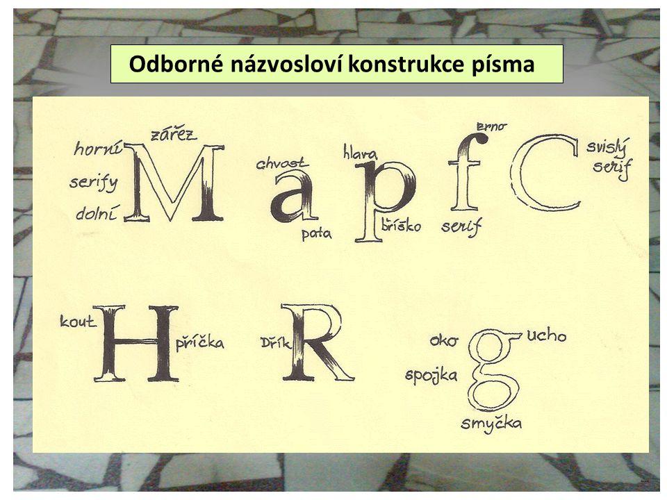 ©c.zuk konstrukce písma – kruhový grotesk LANZ, Bohumil, Němeček Zdeněk.
