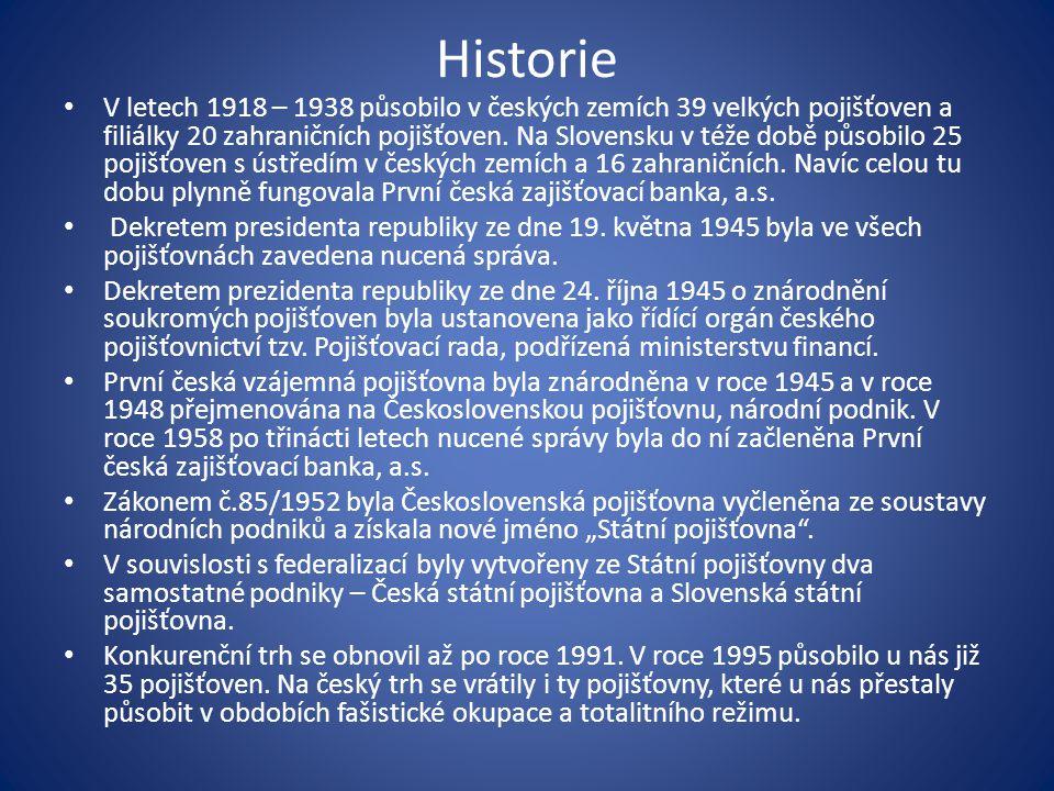 Historie V letech 1918 – 1938 působilo v českých zemích 39 velkých pojišťoven a filiálky 20 zahraničních pojišťoven.