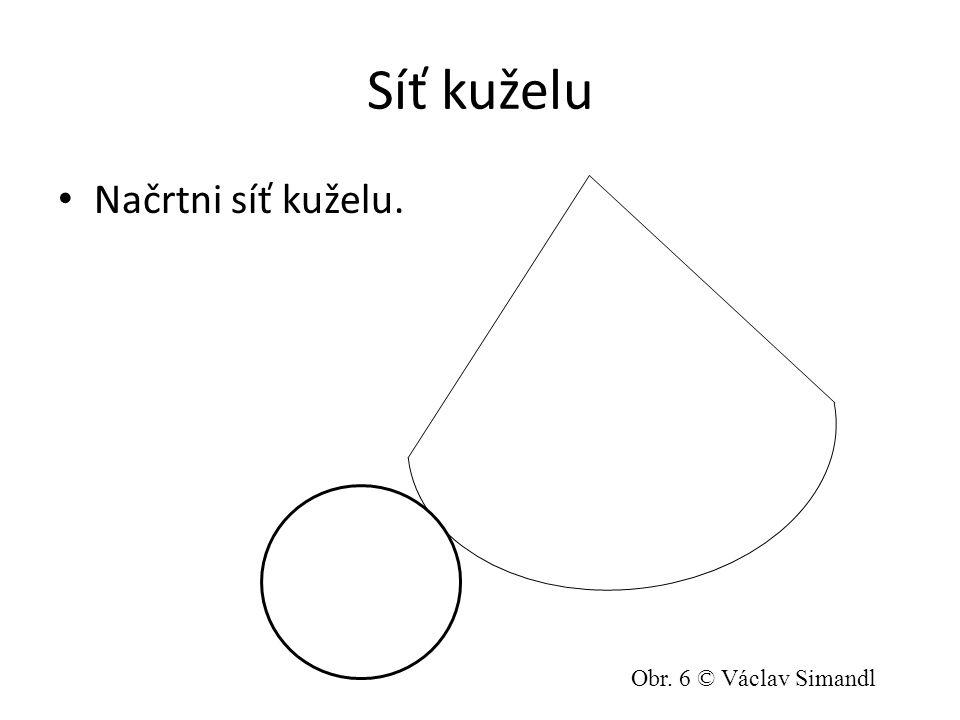 Síť kuželu Načrtni síť kuželu. Obr. 6 © Václav Simandl
