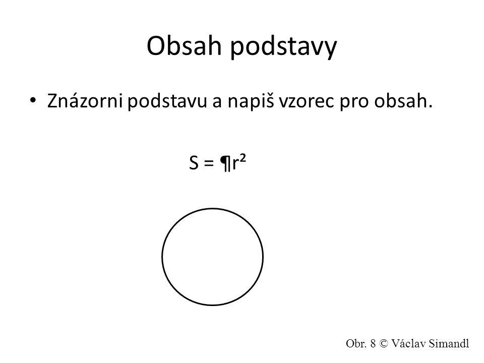 Obsah podstavy Znázorni podstavu a napiš vzorec pro obsah. S = ¶r² Obr. 8 © Václav Simandl