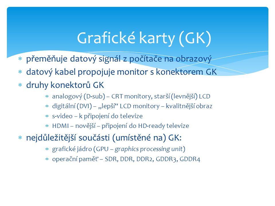  přeměňuje datový signál z počítače na obrazový  datový kabel propojuje monitor s konektorem GK  druhy konektorů GK  analogový (D-sub) – CRT monit