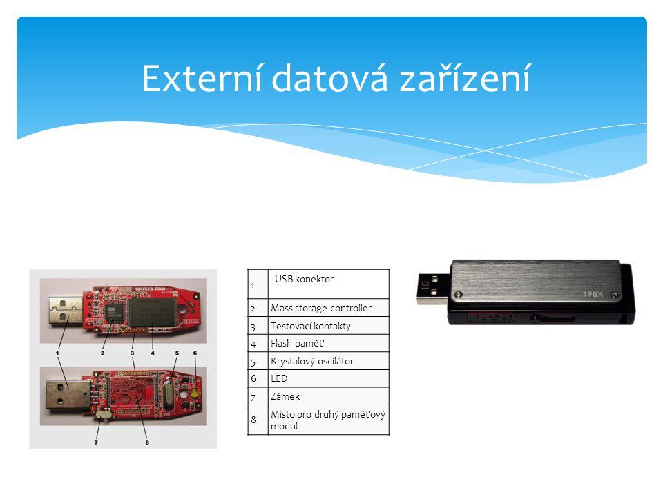 1 USB konektor 2Mass storage controller 3Testovací kontakty 4Flash paměť 5Krystalový oscilátor 6LED 7Zámek 8 Místo pro druhý paměťový modul