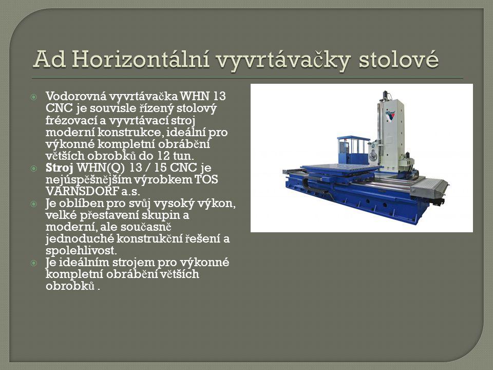  Vodorovná vyvrtáva č ka WHN 13 CNC je souvisle ř ízený stolový frézovací a vyvrtávací stroj moderní konstrukce, ideální pro výkonné kompletní obráb