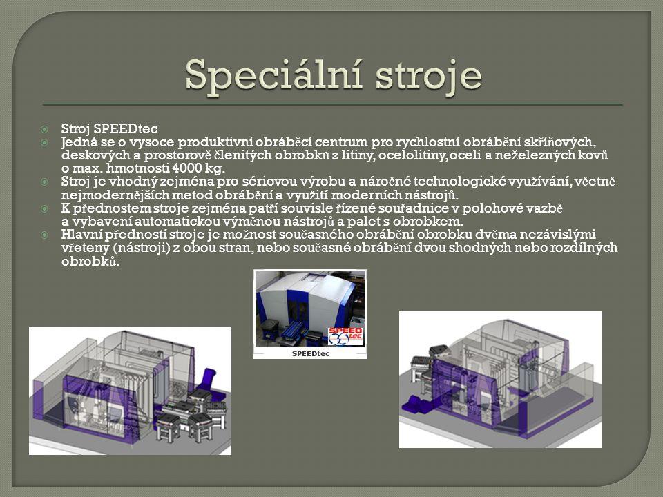  Stroj SPEEDtec  Jedná se o vysoce produktivní obráb ě cí centrum pro rychlostní obráb ě ní sk ř í ň ových, deskových a prostorov ě č lenitých obrob