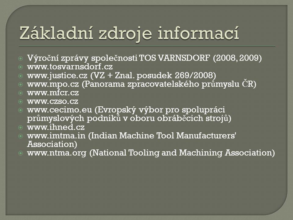  Výro č ní zprávy spole č nosti TOS VARNSDORF (2008, 2009)  www.tosvarnsdorf.cz  www.justice.cz (VZ + Znal. posudek 269/2008)  www.mpo.cz (Panoram