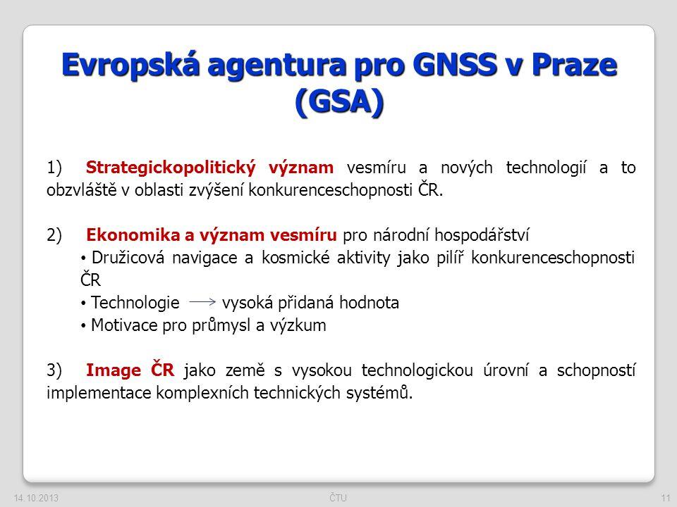 11 Evropská agentura pro GNSS v Praze (GSA) 1)Strategickopolitický význam vesmíru a nových technologií a to obzvláště v oblasti zvýšení konkurencescho