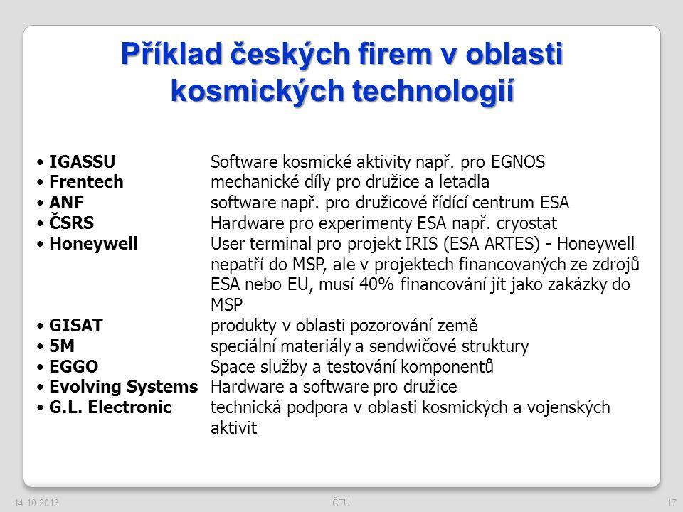 17 Příklad českých firem v oblasti kosmických technologií IGASSU Software kosmické aktivity např. pro EGNOS Frentechmechanické díly pro družice a leta