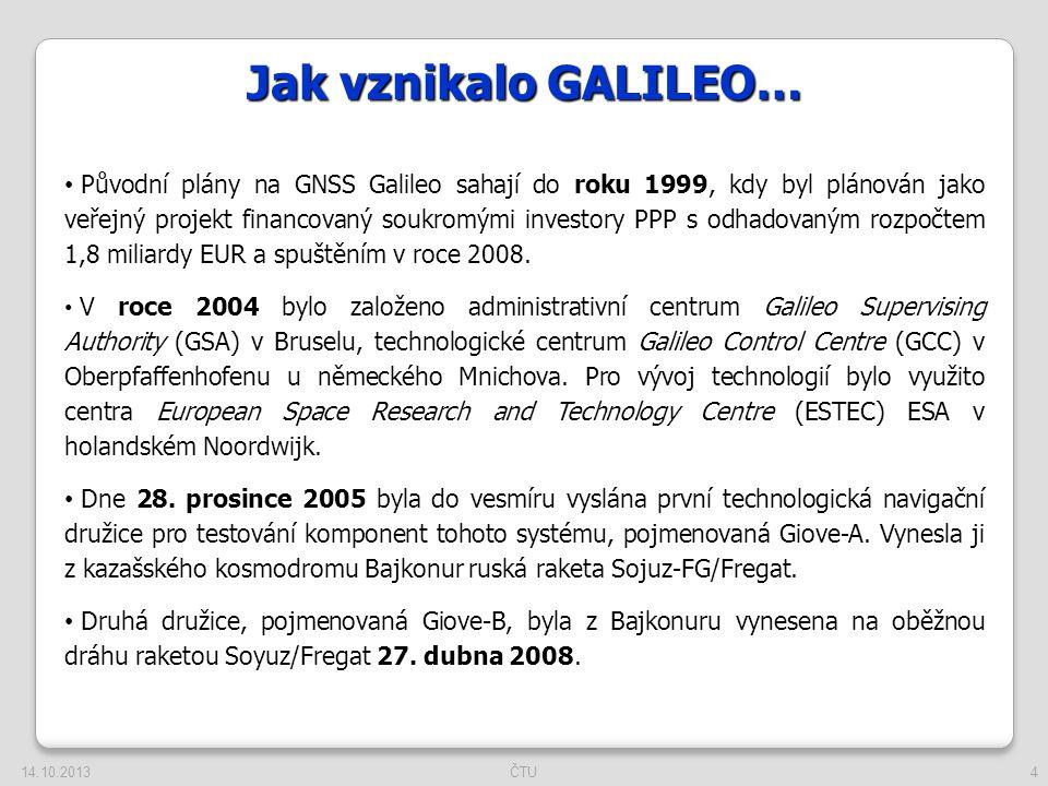 4 Jak vznikalo GALILEO… Původní plány na GNSS Galileo sahají do roku 1999, kdy byl plánován jako veřejný projekt financovaný soukromými investory PPP