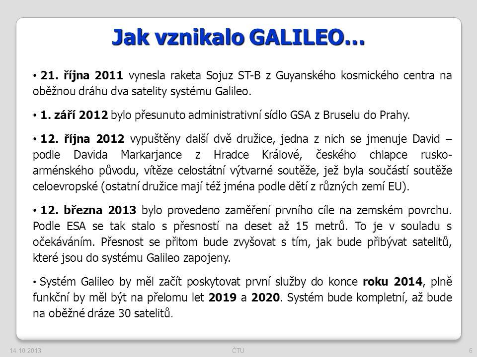 6 Jak vznikalo GALILEO… 21. října 2011 vynesla raketa Sojuz ST-B z Guyanského kosmického centra na oběžnou dráhu dva satelity systému Galileo. 1. září