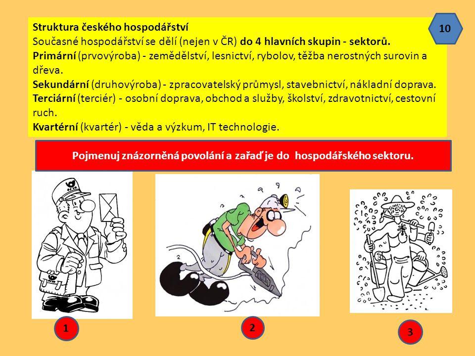 Struktura českého hospodářství Současné hospodářství se dělí (nejen v ČR) do 4 hlavních skupin - sektorů. Primární (prvovýroba) - zemědělství, lesnict