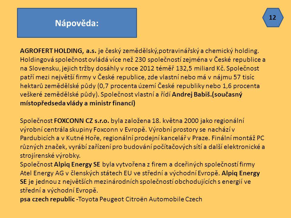 AGROFERT HOLDING, a.s. je český zemědělský,potravinářský a chemický holding. Holdingová společnost ovládá více než 230 společností zejména v České rep