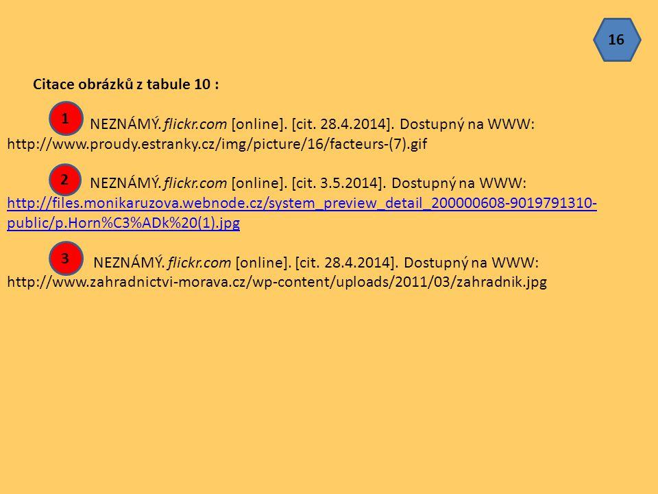 16 Citace obrázků z tabule 10 : NEZNÁMÝ. flickr.com [online]. [cit. 28.4.2014]. Dostupný na WWW: http://www.proudy.estranky.cz/img/picture/16/facteurs