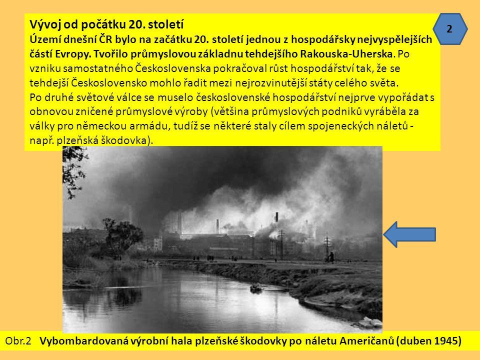 Vývoj od počátku 20. století Území dnešní ČR bylo na začátku 20. století jednou z hospodářsky nejvyspělejších částí Evropy. Tvořilo průmyslovou základ