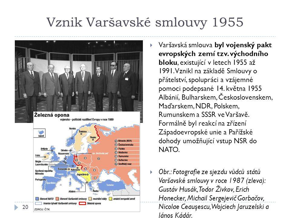 Vznik Varšavské smlouvy 1955 20  Varšavská smlouva byl vojenský pakt evropských zemí tzv.