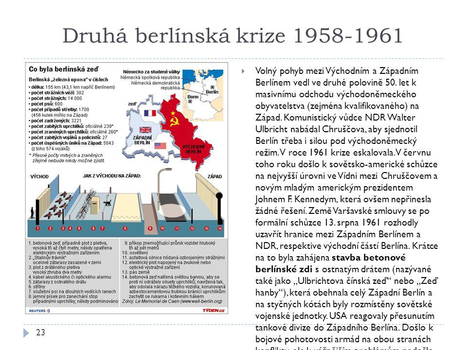 Druhá berlínská krize 1958-1961 23  Volný pohyb mezi Východním a Západním Berlínem vedl ve druhé polovině 50.