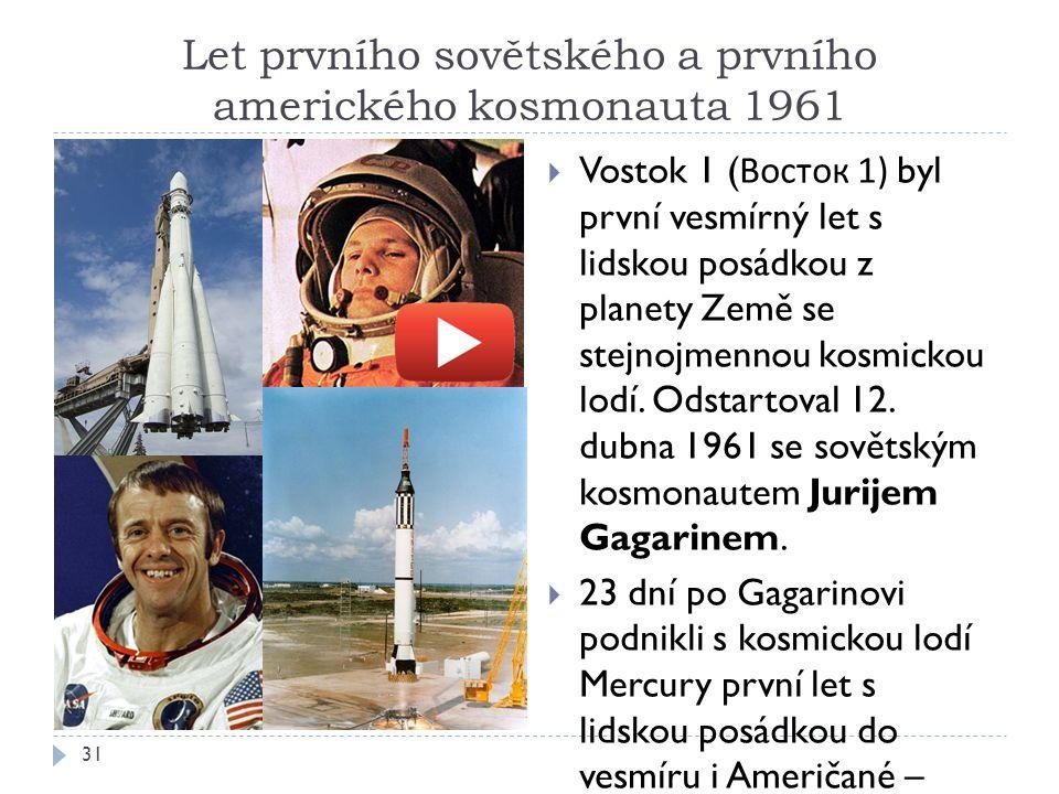 Let prvního sovětského a prvního amerického kosmonauta 1961 31  Vostok 1 ( Восток 1) byl první vesmírný let s lidskou posádkou z planety Země se stejnojmennou kosmickou lodí.