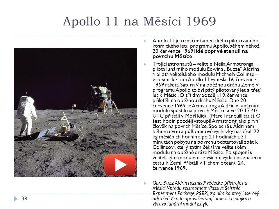 Apollo 11 na Měsíci 1969 38  Apollo 11 je označení amerického pilotovaného kosmického letu programu Apollo, během něhož 20.