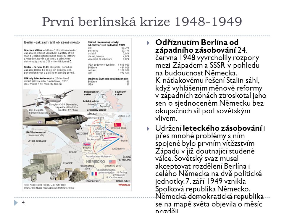 První berlínská krize 1948-1949 4  Odříznutím Berlína od západního zásobování 24.