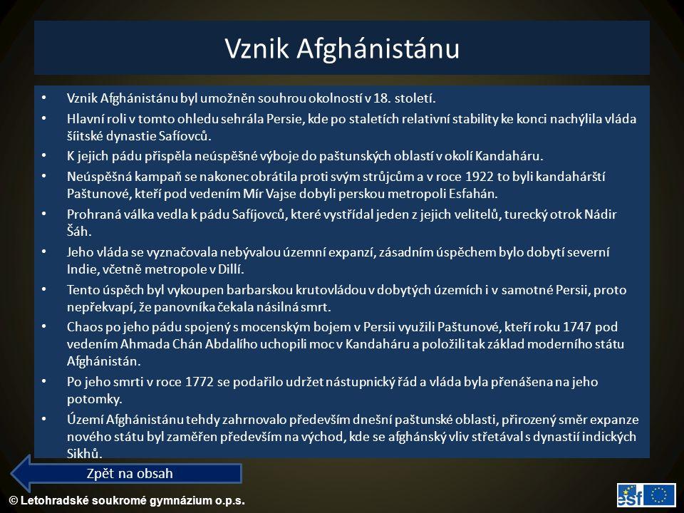 © Letohradské soukromé gymnázium o.p.s. Vznik Afghánistánu Vznik Afghánistánu byl umožněn souhrou okolností v 18. století. Hlavní roli v tomto ohledu