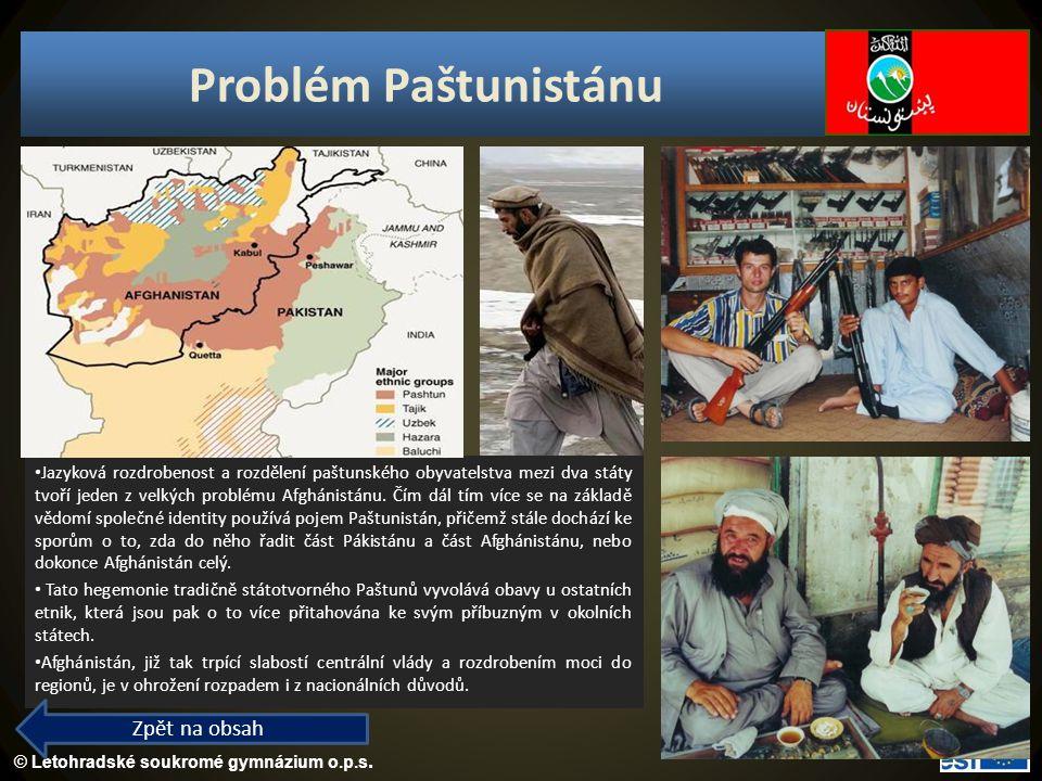 © Letohradské soukromé gymnázium o.p.s. Problém Paštunistánu Jazyková rozdrobenost a rozdělení paštunského obyvatelstva mezi dva státy tvoří jeden z v