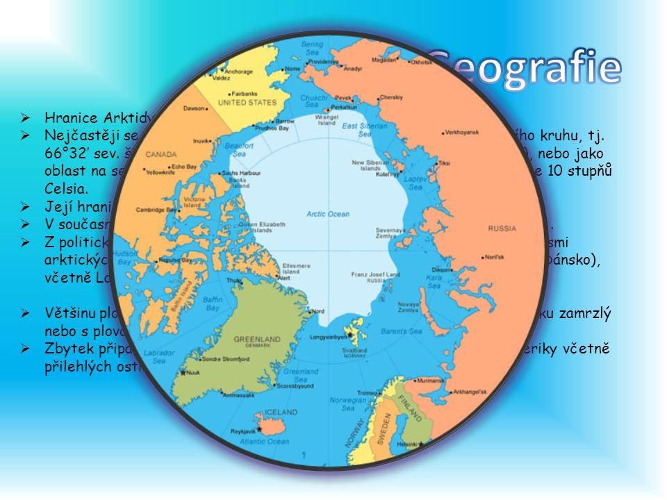  Hranice Arktidy lze stanovit různými způsoby.